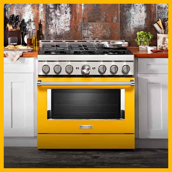 KitchenAid New Commercial Style range in Yellow