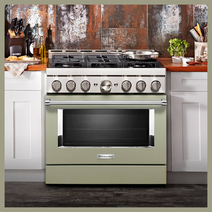 KitchenAid New Commercial Style range in Green
