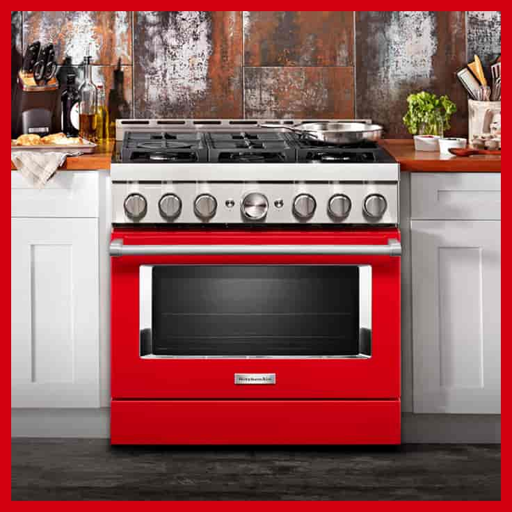 KitchenAid New Commercial Style range in Red