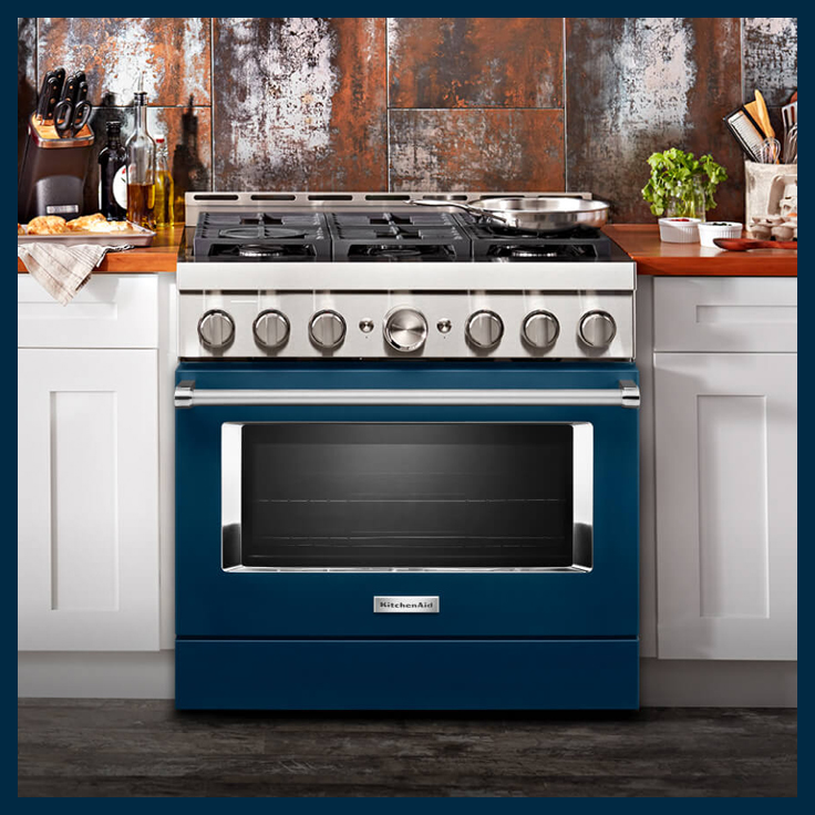 KitchenAid New Commercial-Style range in Blue