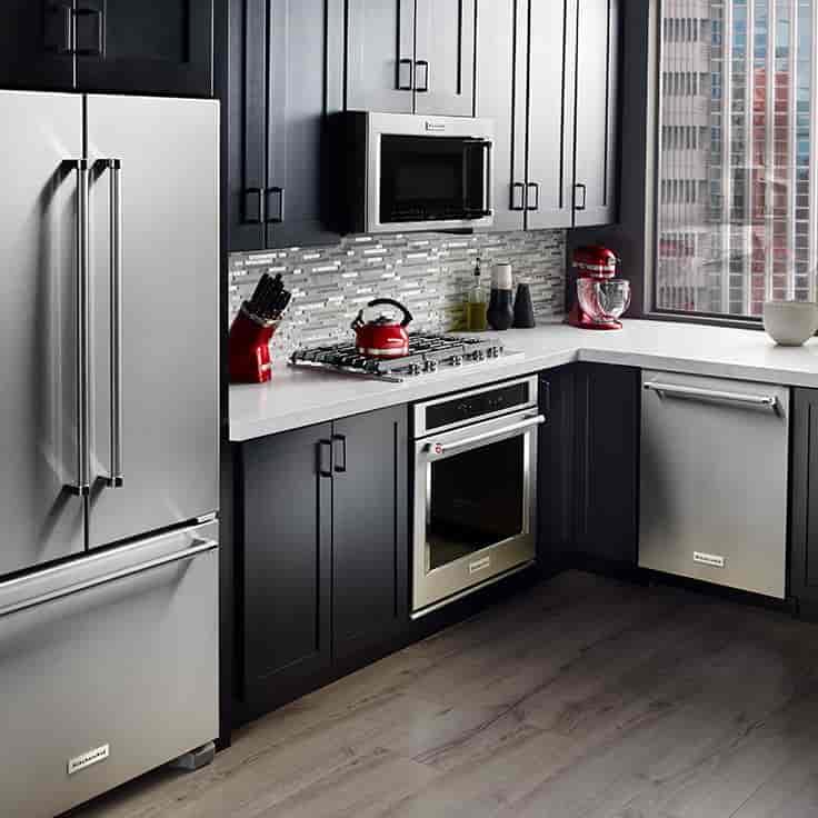kitchenAid full shot of Fridge, Range, Microwave and dishwasher