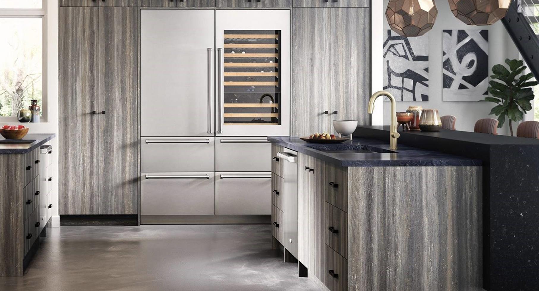 Sub-Zero fridge and wine rack and Cove dishwasher image