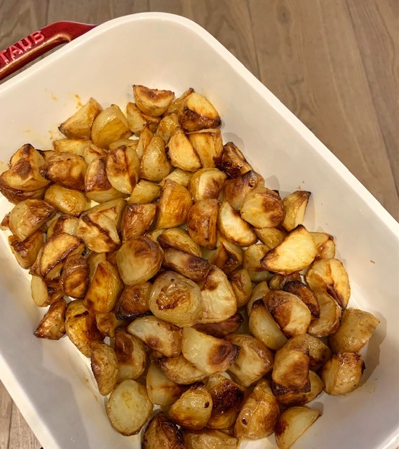golden potatoes from convection baking